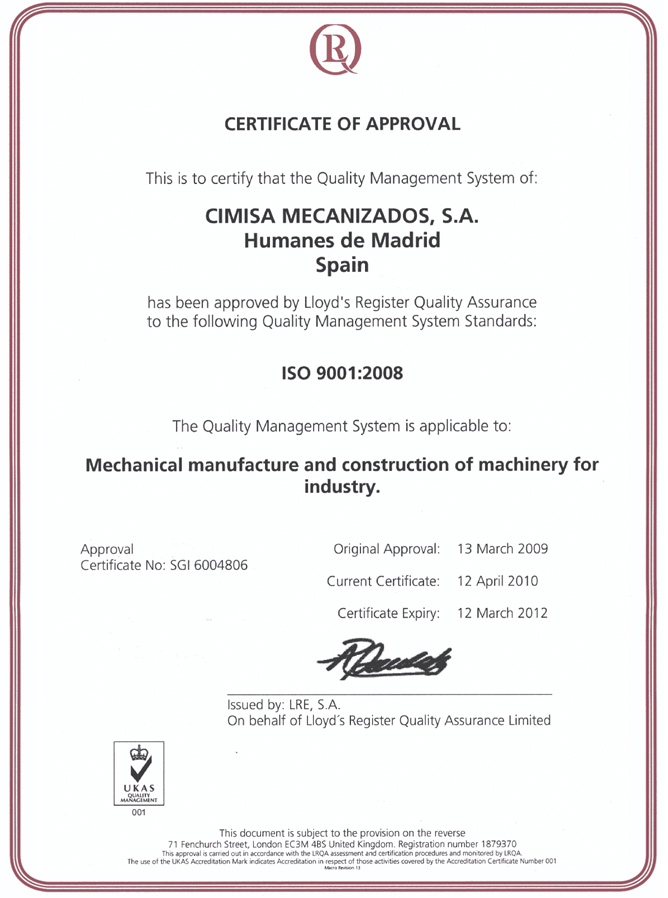 """quality management standard: ISO 9001:2008"""